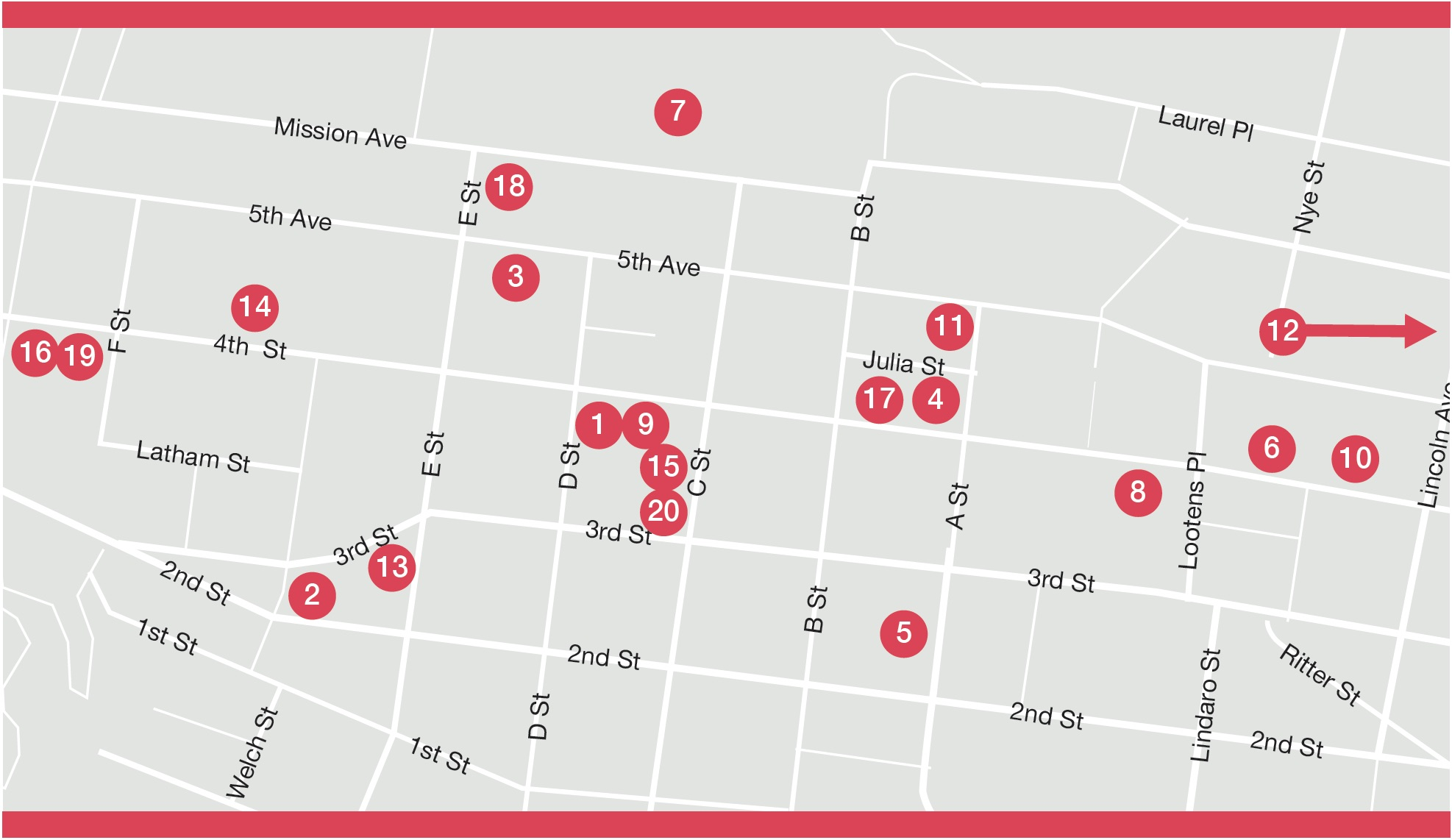 Downtown San Rafael Art District Map & Directory